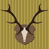 Moose head horns hunting trophy illustration vector