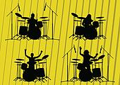 Rock musicians silhouettes illustration collection background
