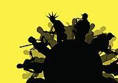 Rock concert various musicians abstract landscape background illustration vector