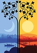 Vintage Arabic city landscape night and day cycle illustration background vector