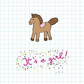 baby girl arrival card with horse