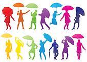 Girl with umbrella abstract vector