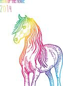 Rainbow Chinese New Year of horse 2014 isolated