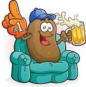 Couch Potato Sports Fan Cartoon