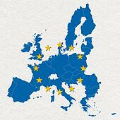 map and flag of European Union on white handmade paper texture