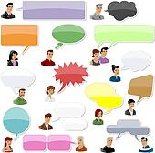 set of people with speech bubbles