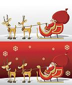 Santa-Claus in Sleigh with reindeer