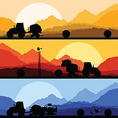 Agriculture tractors making hay bales in cultivated country fields landscape background illustration vector