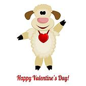 Cheerful lamb with a red heart on her neck - greeting card for Valentine's Day