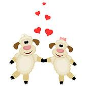 Two cute lamb lovers on a white background