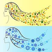 Winter girl and autumn girl. Four Seasons