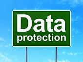 Safety concept: Data Protection on road sign background