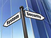 Protection concept: sign Security System on Building background
