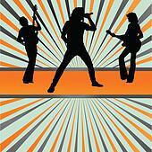Rock concert band burst background vector