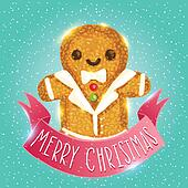 Christmas ginger man. Gingerbread vector