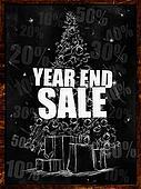 Year end sale on blackboard