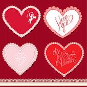 Set of hearts shape are made of lace doily, elements for Valenti