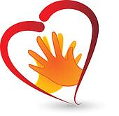Hands and heart symbol icon vector
