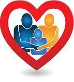Vector of family in a heart logo