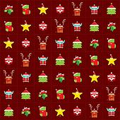 Repetitive seamless texture of happy simple and cute Santa Claus tree elf reindeer sock star and mistletoe cartoon characters