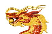 Golden dragon statue isolated on white background