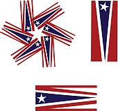 Vector Set of American flags logo