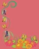 Butterflies, flowers background