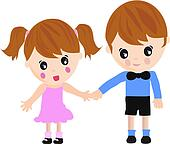 Kids taking hands