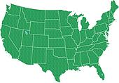 USA Map Green