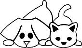 Cat and dog puppies logo
