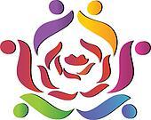 Team helping rose logo