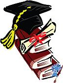 Hat book graduation certificate