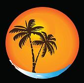 Tropical sun beach logo
