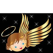 Angel with gold wings