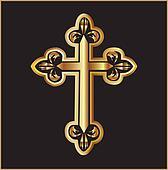 Gold christianity cross vector
