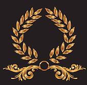 Gold laurel wreath decoration