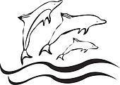 Dolphins silhouettes vector