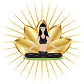 Yoga girl with gold lotus flower