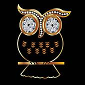 Owl in gold and diamonds