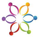 Teamwork support flower logo