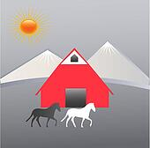 Farm and mountains logo