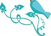 Bluebird with branch