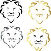 Set of faces lions