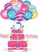 Happy birthday cake with balloons