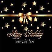 happy birthday ribbon gold card