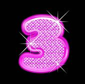 3 number girly pink bling bling