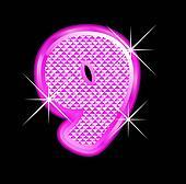 9 number girly pink bling bling