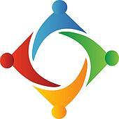 Teamwork square form logo