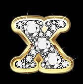 X gold and diamond bling