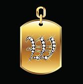 W medal in gold and diamonds vector